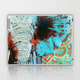 Indian Sketch Elephant Blue Orange Laptop & iPad Skin