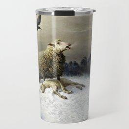 Anguish - August Friedrich Albrecht Schenck - Ravens and Sheep Travel Mug