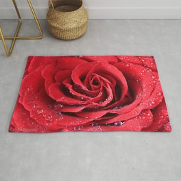 Red Swirl Rose Rug