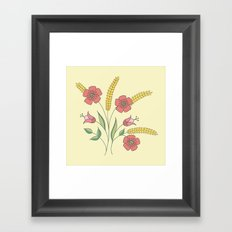 Floral placement on beige Framed Art Print