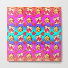 Cute funny sweet adorable happy Kawaii toast with raspberry jam and butter, chocolate chip cookies, red ripe summer strawberries cartoon fantasy rainbow blue pattern design Metal Print