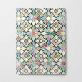Muted Moroccan Mosaic Tiles Metal Print