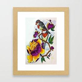 Peony Birds Framed Art Print