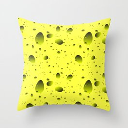 Large yellow drops and petals on a light background in nacre. Throw Pillow