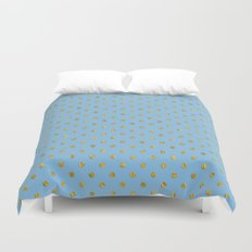 Gold polkadots on sky blue background Duvet Cover