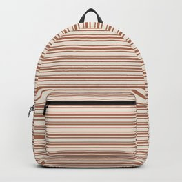 Warm Terracotta Brown Horizontal Stripe Patterns 2 on Creamy Off White Sherwin Williams Cavern Clay  Backpack