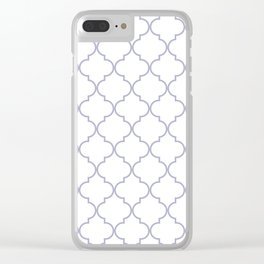Quatrefoil - white and silver Clear iPhone Case