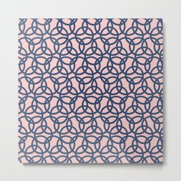 Olympic Navy on Blush Metal Print