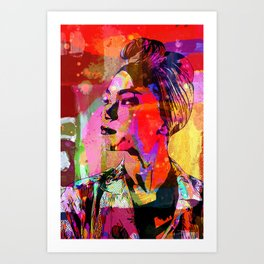 Lady with headscarf in mixed media style Art Print