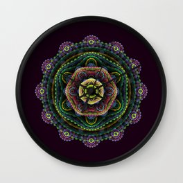Fractal mandala on purple Wall Clock