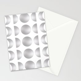 Silver Moon Phase Pattern Stationery Cards