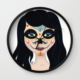 Day of the Dead Girl Illustration Wall Clock