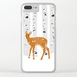 Baby Deer in the snow Clear iPhone Case