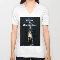 wonderland V-neck T-shirts featuring Wonderland by Design4u Studio