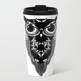 Ornate Owl Metal Travel Mug