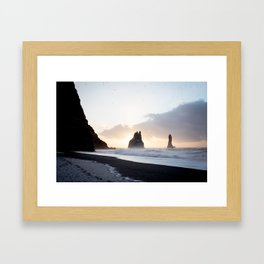 Gold and dark - Iceland | landscape - photography - print - travel - reynisfjara - sunrise - nature Framed Art Print