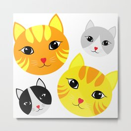 Cat Faces Metal Print