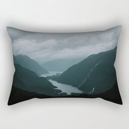 New Zealand - Te Anau, Doubtful sound water & mountains in the mist  Rectangular Pillow