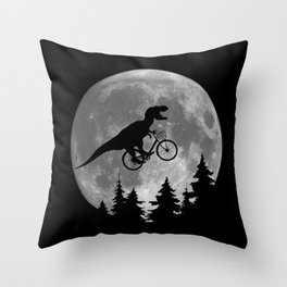 Biker t rex In Sky With Moon 80s Parody Throw Pillow