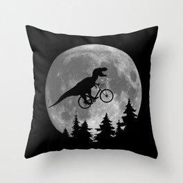 Biker t rex In Sky With Moon 80s Parody Throw Pillow
