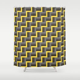 Plus Five Volts - Geometric Repeat Pattern Shower Curtain