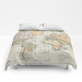 Vintage Map of The World (1892) Comforters