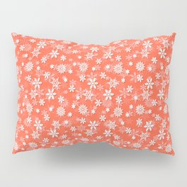 Festive Living Coral Orange Pink and White Christmas Holiday Snowflakes Pillow Sham