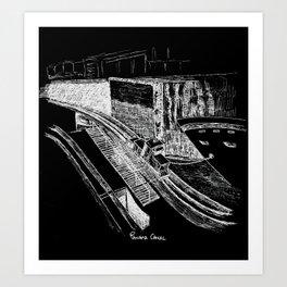 Panama Canal - White on Black Art Print