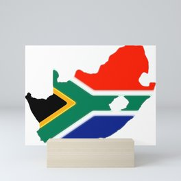 South Africa Map with South African Flag Mini Art Print