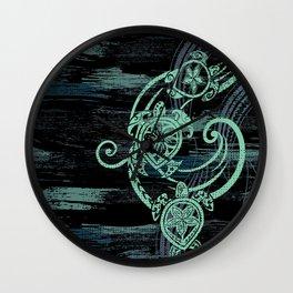 Abstract Tribal Turtles Wall Clock