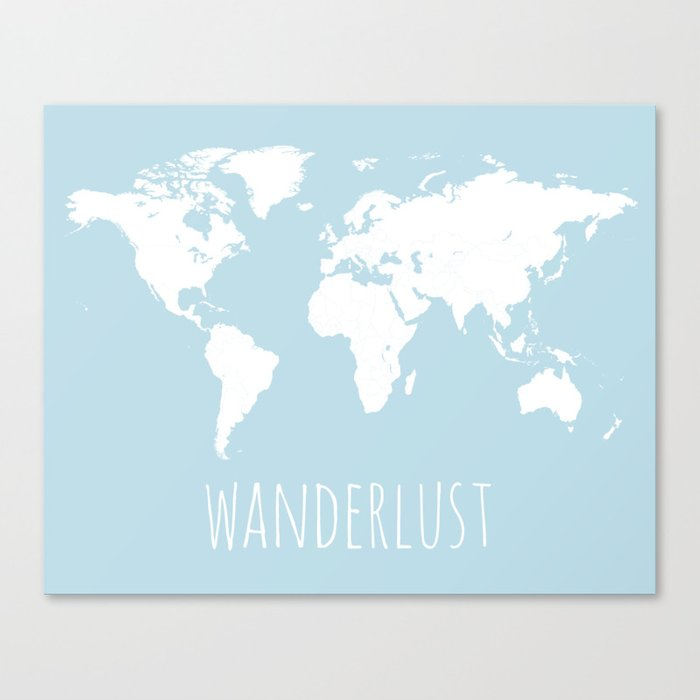 World Map - Wanderlust Quote - Modern Travel Map in Light Blue With White  Countries Leinwanddruck