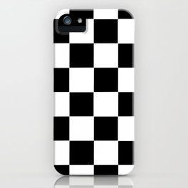 Checker Cross Squares Black And White iPhone Case