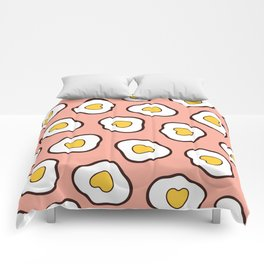 Heart Shaped Fried Eggs Pattern Comforters