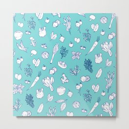 Pastel Vegetables & Herbs Pattern Metal Print