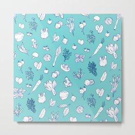 Pastel Vegetables & Herbs Pattern Metal Print
