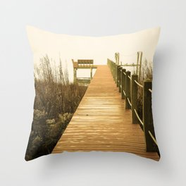 A Foggy Morning on the Dock Throw Pillow