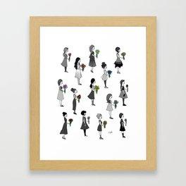 Ladies Holding Flowers Framed Art Print