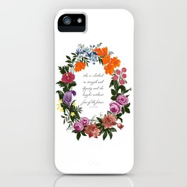 She is Clothed in Dignity and Strength and She Laughs without Fear of the Future iPhone Case