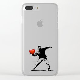 Banksy - heart thrower Clear iPhone Case