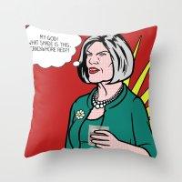lichtenstein Throw Pillows featuring Malory Archer Lichtenstein by turantuluy