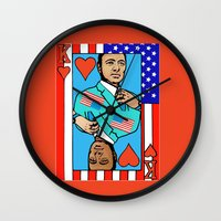 house of cards Wall Clocks featuring King Kevin of The House of Cards by Kramcox