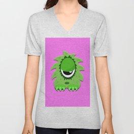 One Eyed Hairy Monster in Green Unisex V-Neck
