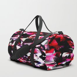 psychedelic geometric triangle polygon abstract pattern in red pink black Duffle Bag