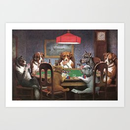 Dogs Playing Poker A Friend in Need Painting Art Print
