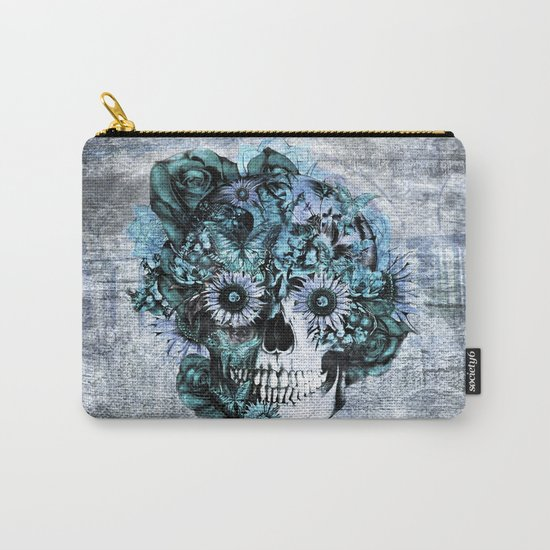 Blue grunge ohm skull Carry-All Pouch