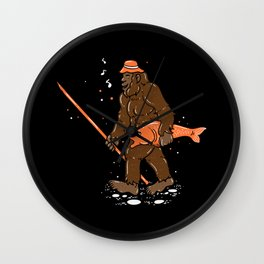 Fishing & Yeti Design: Bigfoot Carrying Fish Wall Clock