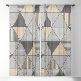 Concrete and Wood Triangles 2 Sheer Curtain