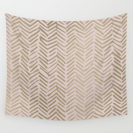Puce Color, Herringbone, Pink Aesthetic with Gold Wall Tapestry