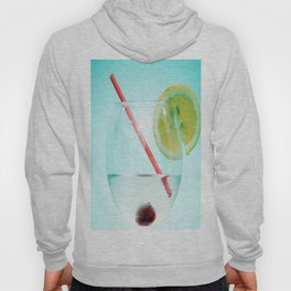 Cocktail with lemon slice, cherry and a straw Hoody