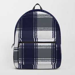 Plaid navy blue and gray Backpack